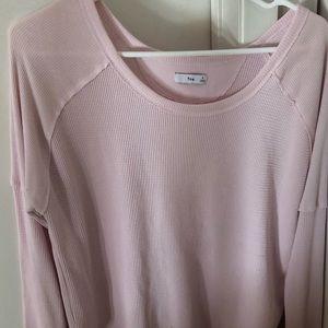 Aritzia TNA Alder Thermal Shirt in Baby Pink